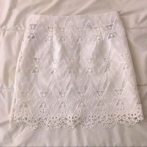 White Lace Eyelet Scallop Skirt